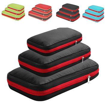 Double Layer Travel Storage Bag Foldable Waterproof Nylon Luggage Organizer Compression Packing Cubes for Clothing Shoes