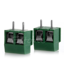 2pcs 300V 10A 2P Male PCB Screw Terminal Block Connector Green 5mm Pitch insurance block 10a