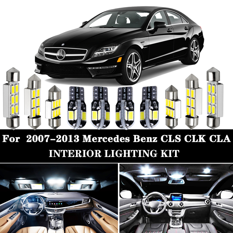 100% Error Free White LED Inner Bulb Interior Dome Map Light Kit For Mercedes Benz CLS CLK CLA Class W218 W219 W208 W209 C117