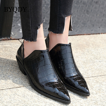 BYQDY Sexy Woman Chelsea Pumps Prints Patent Leather Pointed Toe Shoes Chunky Heels Slip on Shoes Zapatos For Mother Shoes Black недорого