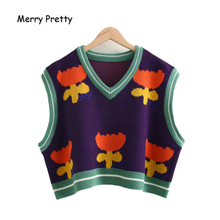 MERRY PRETTY Women's Floral Embroidery Knitted Sweaters Sleeveless Vest 2019 Winter Warm V-Neck Female Jumpers Pullovers