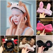 JIFANPAUL Hot Fashion Accessories Wash Face Hair Holder Hairbands Soft Warm Coral Fleece Bow Animal Ears Headband For Girls