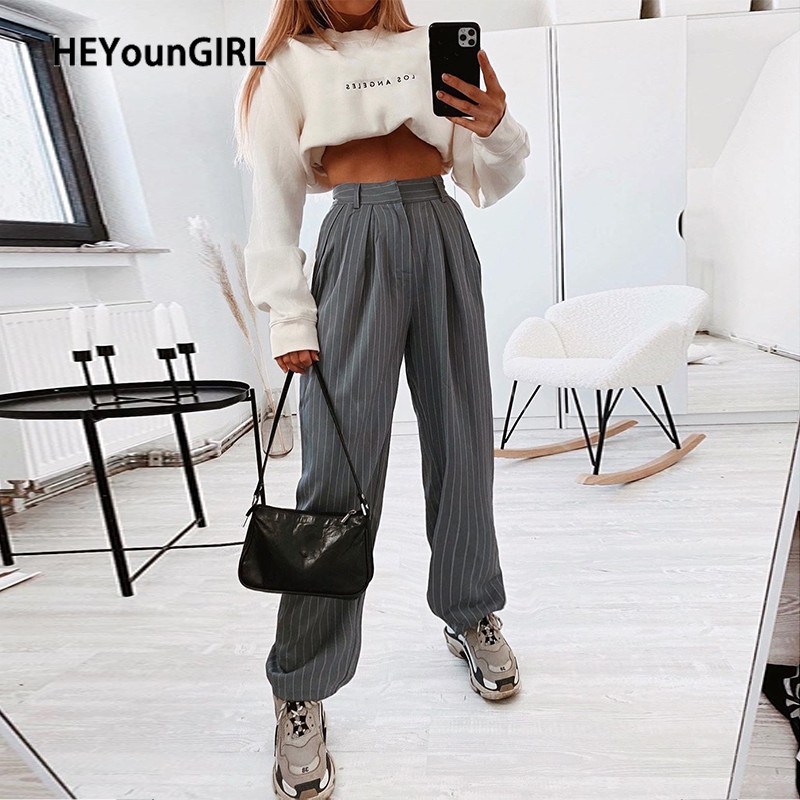 HEYounGIRL Casual Loose Suit Pants Women Striped High Waist Straight Pants Capris Long Solid Streetwear Trousers Ladies Summer