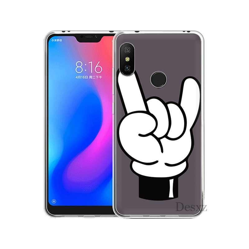 Cassa Del Telefono Mobile Per Xiao mi mi 5 5 s 6 MI x 2 s 8 A1 A2 5X 6X lite F1 9 9T MAX 3 A3 Pro CC9 CC9E Copertura mi ckey Mouse Gesto della Mano