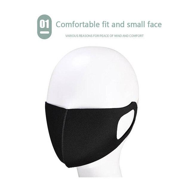 Fashionable Non-disposable Dust-proof Breathable Masks Black 1 Pack Individually Reusable Washable Black Masks 2