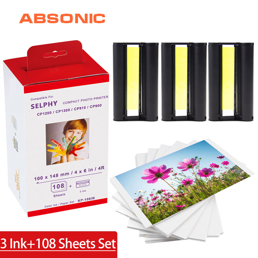 6 Inch CP1300 for Canon Selphy Ink Paper Set CP1200 CP1000 CP910 CP900 CP800 CP810 CP820 3 Ink  108 Sheet Paper KP-108IN KP-36IN