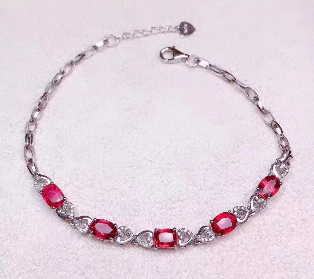 Bijoux fins véritable or 18K AU750 G18K 100% spinelle rouge naturelle 3.5ct pierres précieuses bijoux bracelets pour femme Bracelet fin