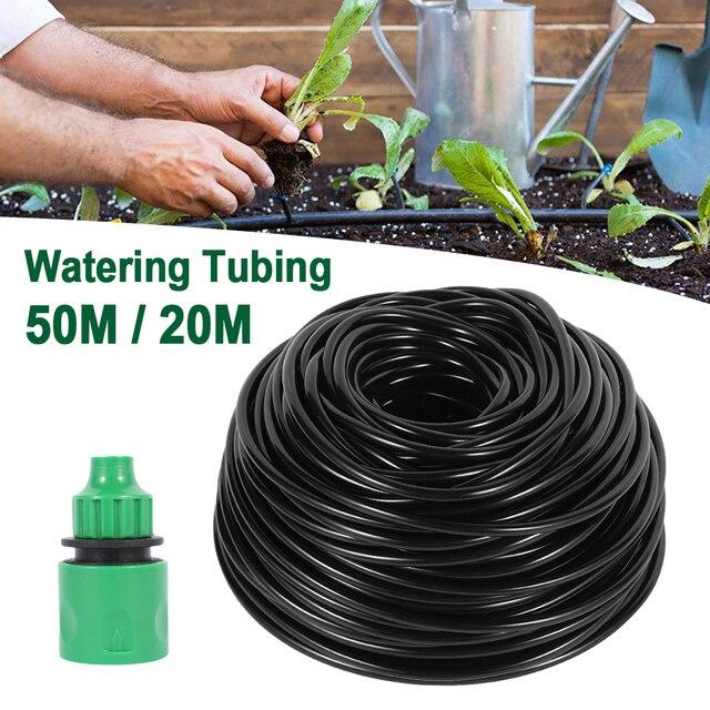 20M/50M 4/7MM tuyau deau de jardin avec connecteur rapide Micro goutte à goutte dirrigation de jardin accessoires de raccords de tuyauterie darrosage automatique