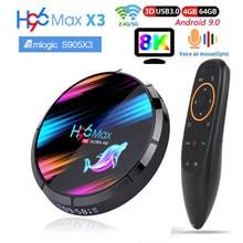H96 max x3 smart tv caixa android 9.0 8k amlogic s905x3 4gb 128gb 64gb duplo wifi 60fps youtube media player h96max conjunto caixa superior