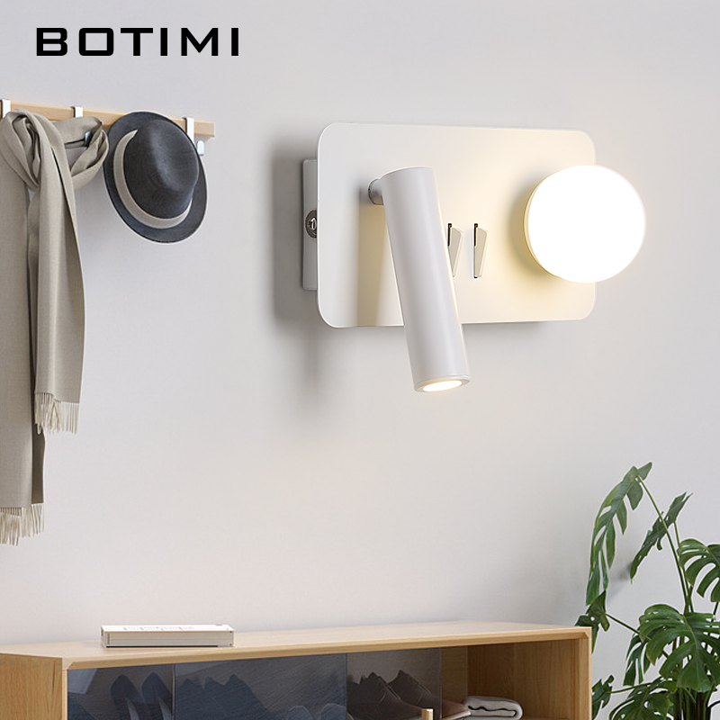 BOTIMI Nordic LED White Metal Wall Lights With Glass Ball For Bedroom Modern Adjustable Round Corridor Bedside Wall Sconce