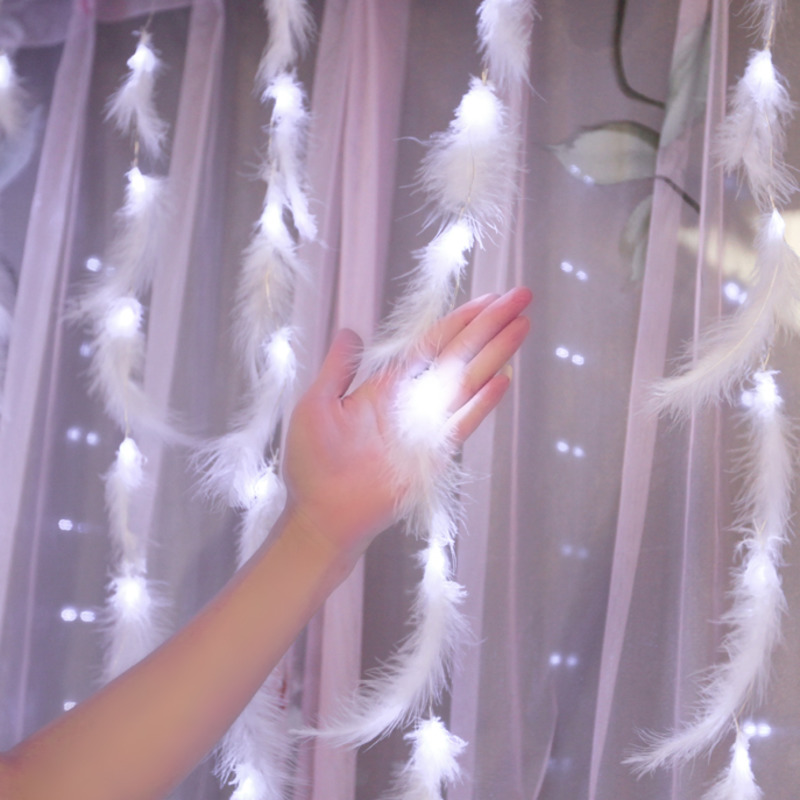 Remote Control Fairy String Lights Feather Curtain Light Decoration Home Copper LED Garland Twinkle Battery Powered 300cm X 50cm