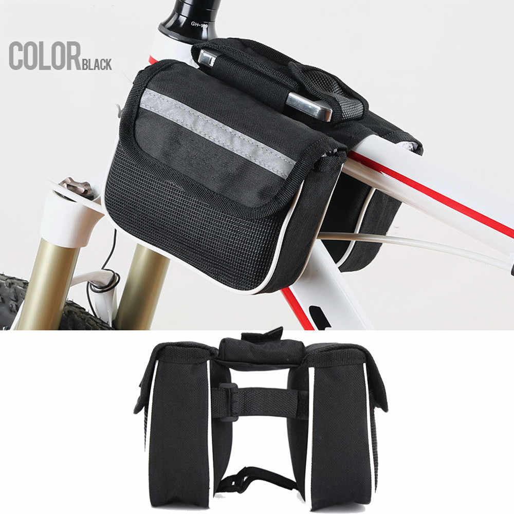 Bicycle Bike Cycling Front Frame Tube Handlebar Pannier Double Pouch Waterproof Phone Bag Frame Bycicle Accessories