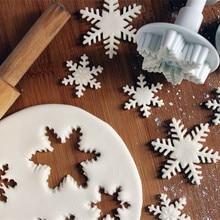 3pcs/set Plastic Snowflake Plunger Fondant Cutter Cake Tools Cookie baking decorating accessories cake decorating tools