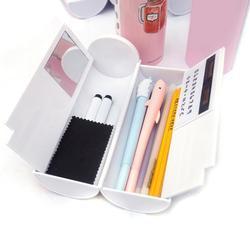 Novo kawaii caixa de lápis dupla camada caneta com espelho calculadora quadro branco caneta limpador para material escolar caso cosmético etui