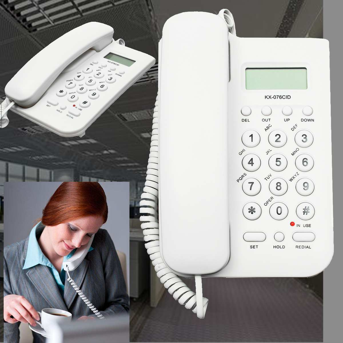 Caller ID Telephone Corded Telephone Desktop Wall Phone For Hotel Home Office Landline Telephone Big Button Fashion Telephone