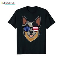 MenS T-Shirts Summer Style Fashion Swag Men Hot Sale Australian Cattle Dog Wearing American Flag Glasses T-Shirt