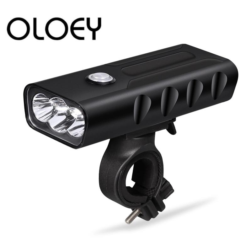 OLOEY Bicycle Light FlashLight 5200mAh Headlight Lamp USB Rechargeable Front Light Night Cycling Waterproof Bike Light L2 LED