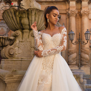 Image 4 - BAZIIINGAAA Luxury Long Sleeve Mermaid   Detachable Mermaid Tail 2 in 1 Lace Wedding Dress