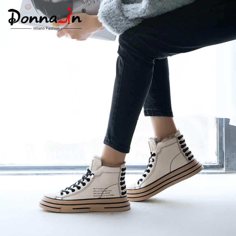 Donna-in Cow Leather High-Top Women Winter Sneakers Rabbit Fur Cross-tied Casual Ladies Shoes Alphabet Lace-up Black White