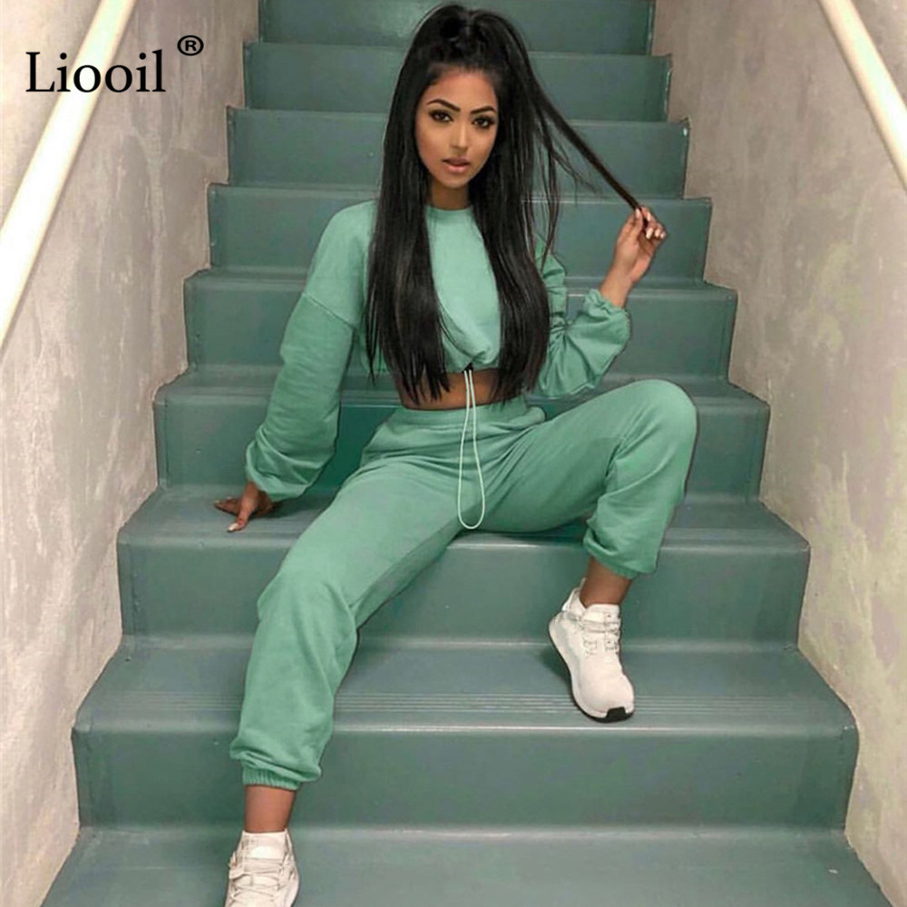 Liooil 2 Piece Active Set Women Tracksuit 2019 Autumn Winter Long Sleeve Sweatshirt Sweatpants Harem Pants Casual Joggers Outfit