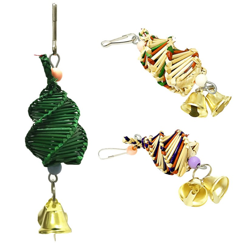 Parrot Chew Biting Toy Pet Bird Colorful String Toy Cage Decoration, Natural Grass Woven Toy Bird Chew Toy For Parrot