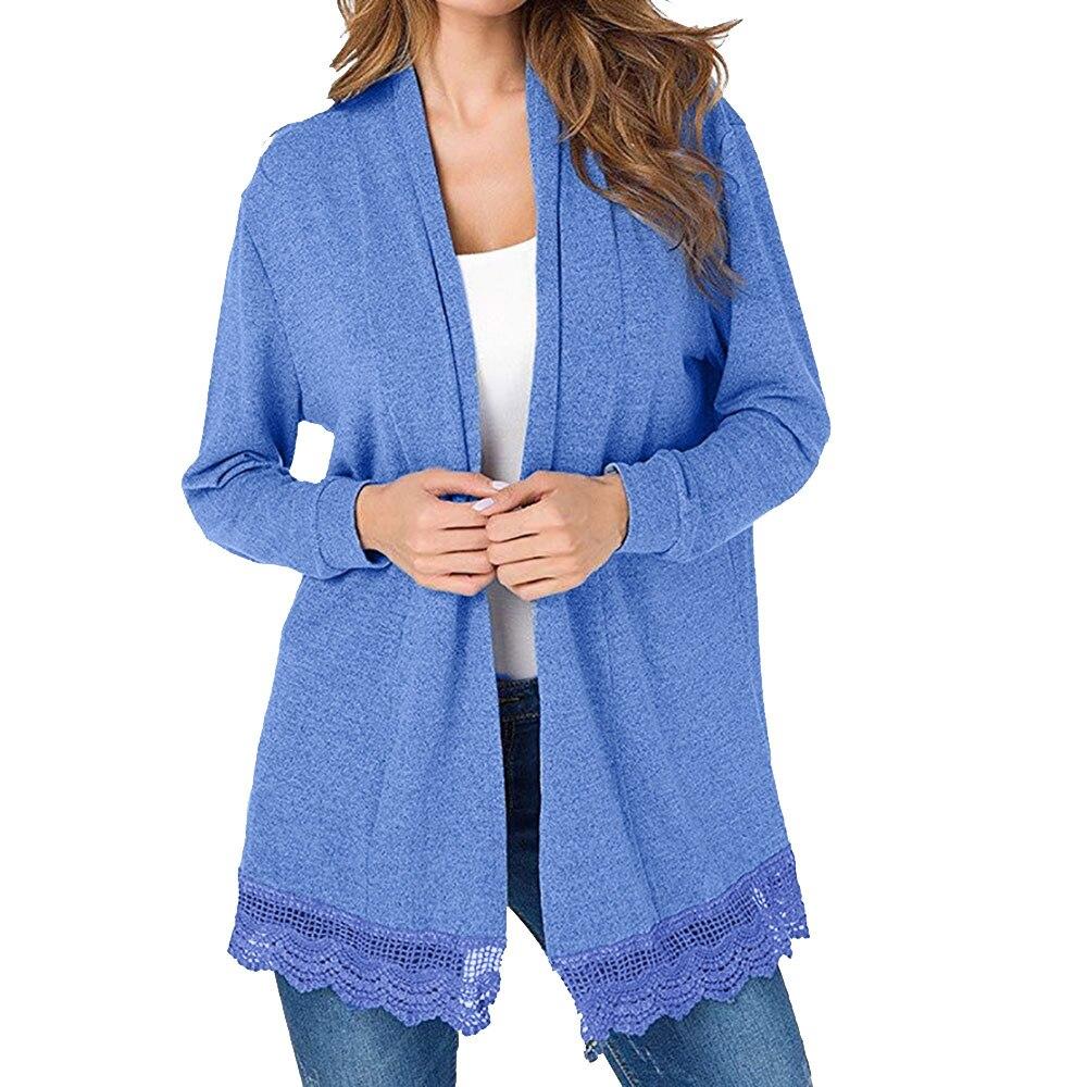 US Womens Long Sleeve Sweater Outwear Casual Cardigan Irregular Jacket Coat Tops