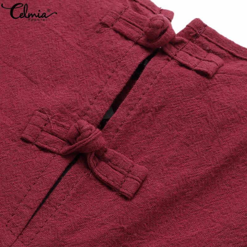 Celmia macacões femininos verão casual sem mangas do vintage linho playsuits calças compridas dungarees macacão plus size 5xl