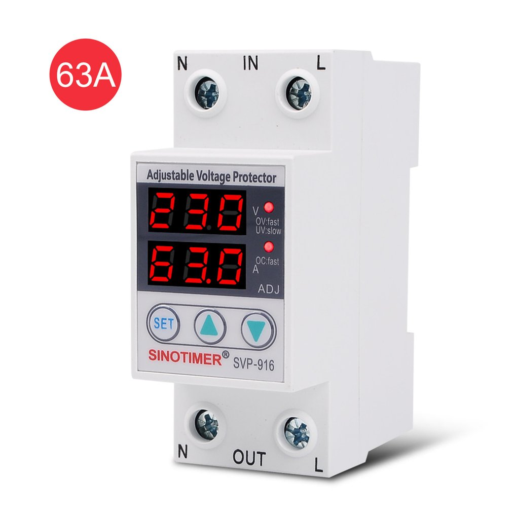 SINOTIMER SVP-916 230V 40A/63A Adjustable Auto-recovery Under/Over Voltage Protector Relay Breaker Protective Device With LED