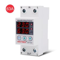 SINOTIMER SVP 916 230V 40A/63A Adjustable Auto recovery Under/Over Voltage Protector Relay Breaker Protective Device With LED|Voltage Meters| |  -