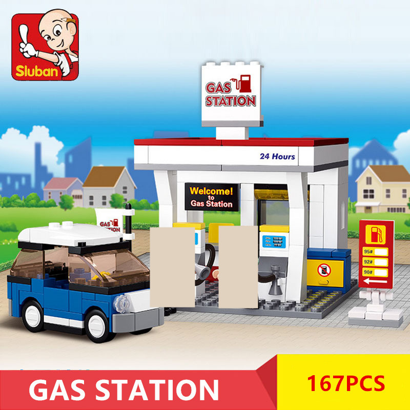 167Pcs City Gas Station SimCity Model LegoINGLs Building Blocks Sets Friends House Creator Bricks Educational Toys for Children image