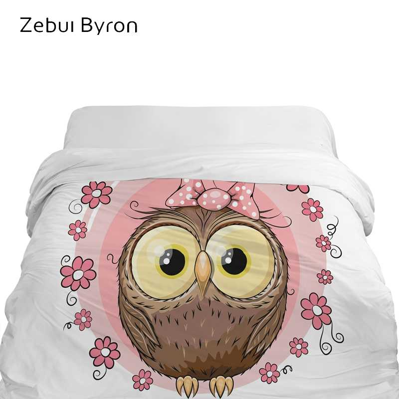 3D Cartoon Duvet Cover,comforter/Blanket Cover for kids/baby/children,Quilt cover for 90/150/135 bed,Bedding Cute pink owl
