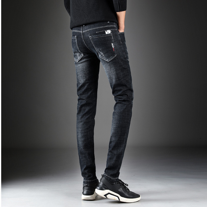 Casual Style Autumn And Winter New Products Youth MEN'S Jeans Trend Men'S Wear Korean-style Slim Fit Elasticity Skinny Pants
