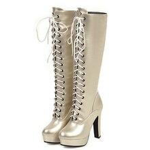 Shoes Platform Boots Woman High-Boots Lace-Up Knee Autumn Women Winter Fashion PU 46