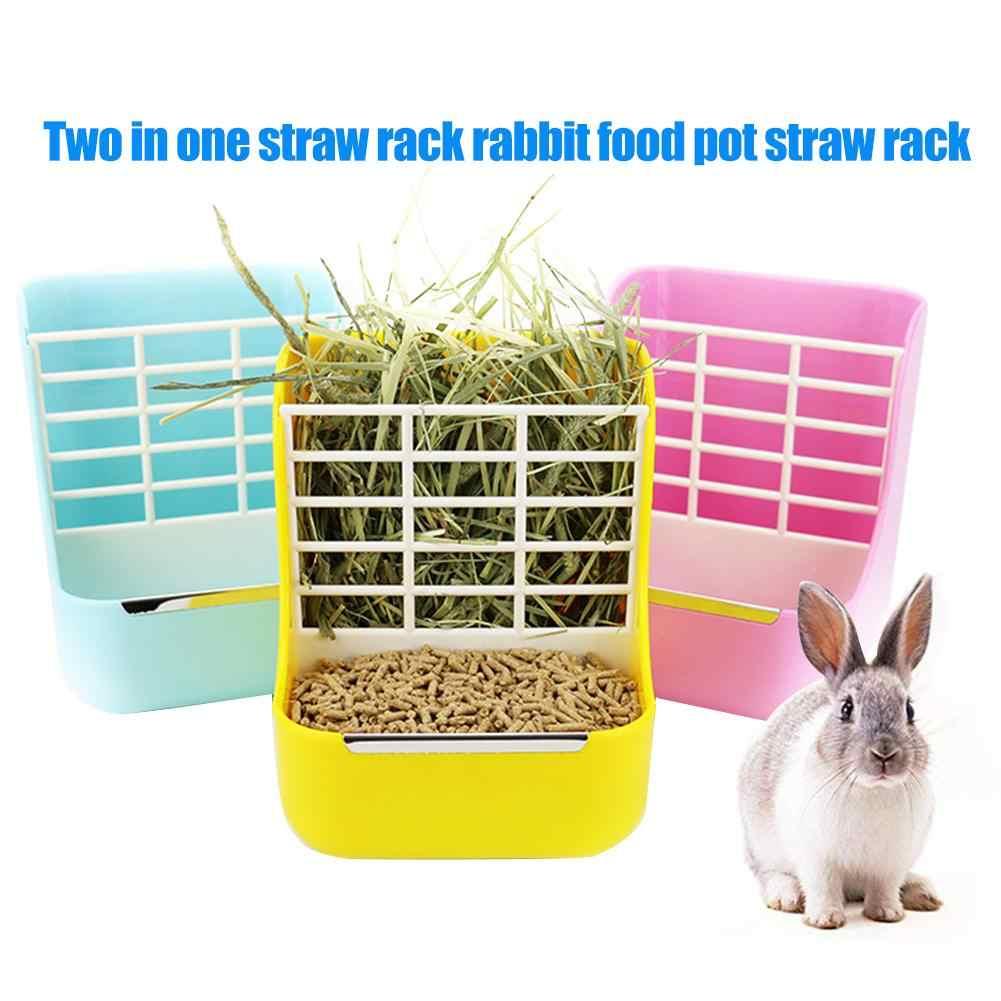 2in1 plastic hay feeder bowl hay cat guinea pig small animals bowl small pet rabbit hay grass feeder rack fixed external shelf
