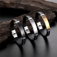 Charm Bangle Homme Braided Rope Silicone Bracelet Classic Initial Wrist Jewelry Casual Men's Stainless Steel Accessories