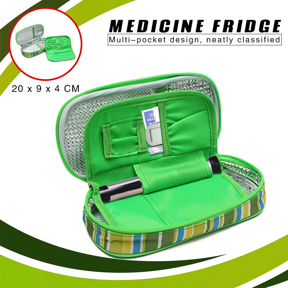 2-Layer Portable Medicine Diabetic Insulin Cooling Pouch Cooler Ice Pack Bag Travel Case Travel Case Cooler Box Aluminum Ice Bag