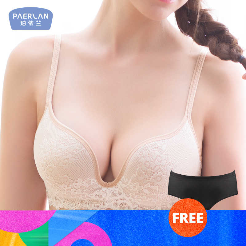 Paerlan Seamless Wire Free Lace Bra Small Breasts Push Up One