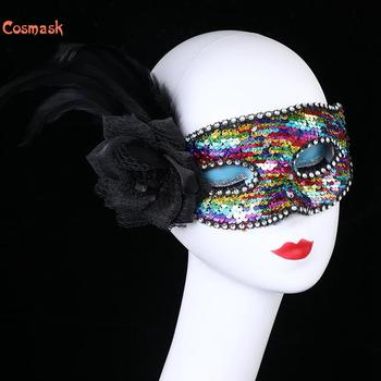 Cosmask Halloween Sexy Sequins Ball Mask Prom Side Rose Feather Half Face Mask Carnival Party Performance  Sex Lady Masquerade