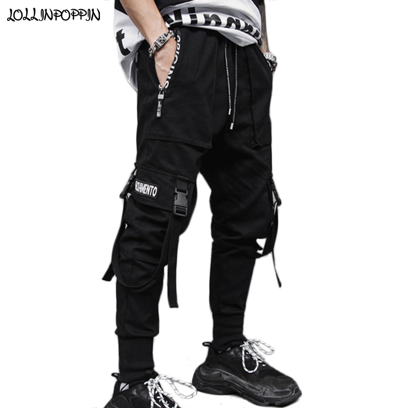 CRYYU Men Autumn Multi Cargo Pocket Jogger Pants Elastic Waist Pants
