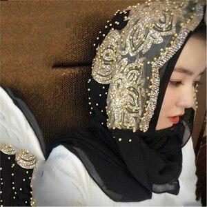 Image 3 - סיטונאי מחיר hijabs המוסלמי האסלאמי צעיף צעיפי לאישה ארוך Underscarf חיג אב מוצק צבע עם חרוז תפילת Turbante