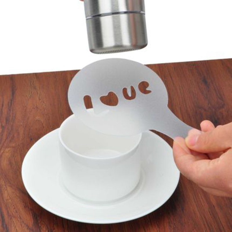 16Pcs Coffee Latte Cappuccino Barista Art Stencils Cake Duster Coffee Foam Spray Template Stencils Coffee Mold Kitchen Tools