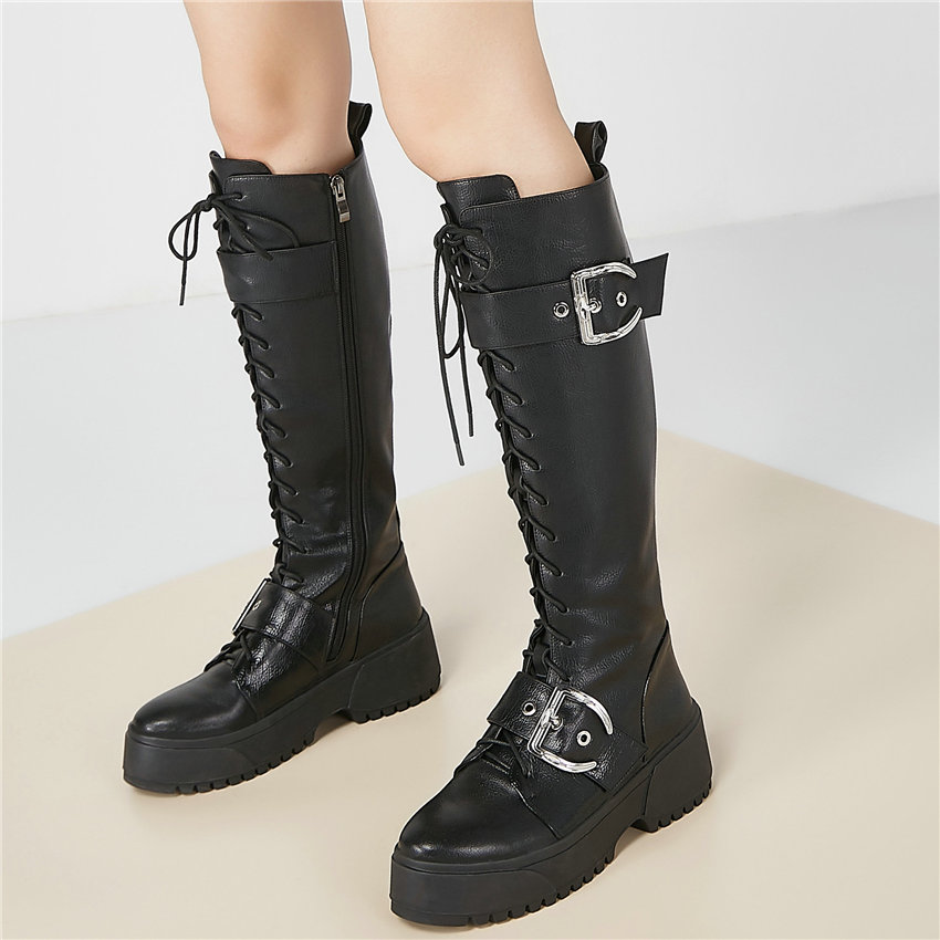 Women Lace Up Straps Genuine Leather Knee High Military Boots Round Toe High Heel Platform Oxfords Shoes Winter Long Sneakers