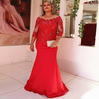 Mermaid Long Red Mother of the Bride Dress 3/4 Long Sleeve Sequined Lace Wedding Party Formal Gown Evening Dress Floor Length