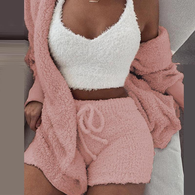 Aartiee Sexy V Neck Two Piece Set 2019 Autumn Short Ladies Jumpsuits Solid Bodysuits Knitted Playsuit Party Club Women Jumpsuit