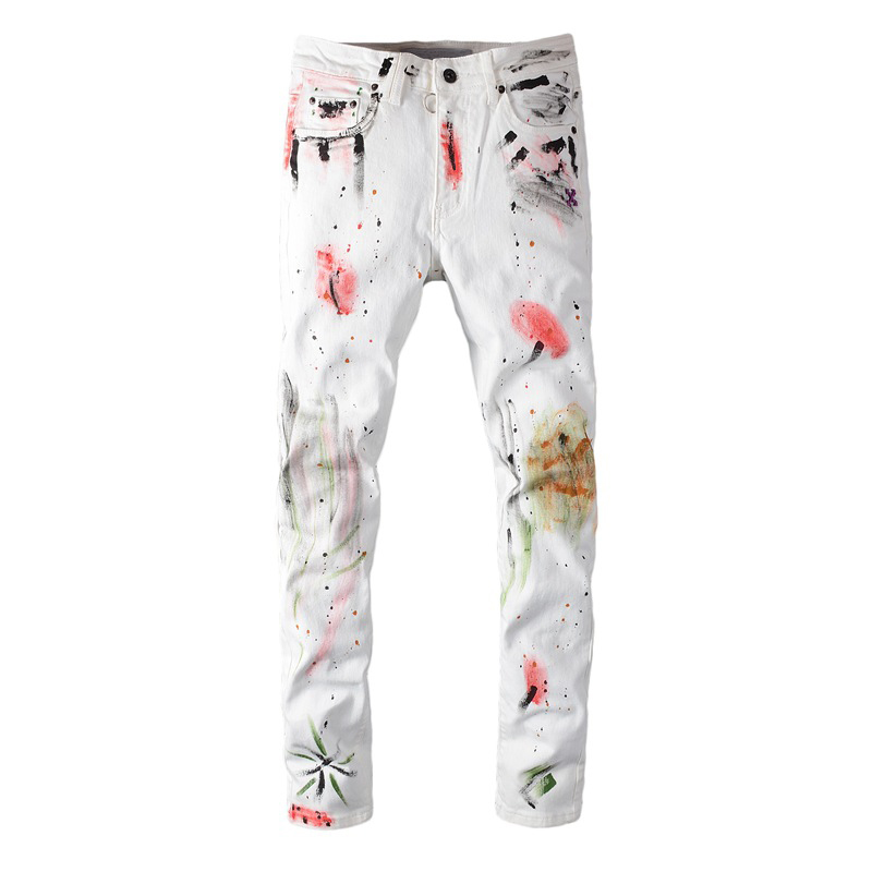 Hand-painting Graffiti Hip Hop Jeans Men Brand Fashion Streetwear Slim Fit White Jeans Stretch Skinny Denim Pants Trousers Male
