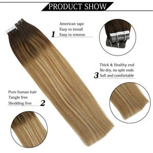 Image 4 - Горячая Распродажа балаяж, наращивание волос, лента из человеческих волос в машине, Реми, бразильский цвет Омбре, коричневый, светлый, двусторонний клей