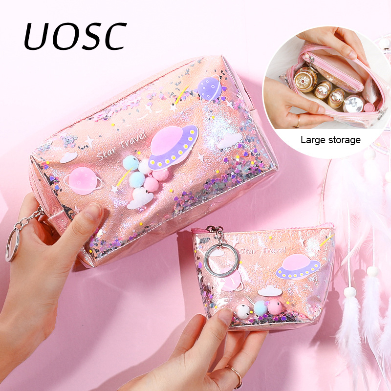 UOSC Vintage Women Cosmetic Bag Case Cotton Striped Cute Makeup Bag Beauty Organizer Travel Pouch Necessarie Toiletry Wash Bags