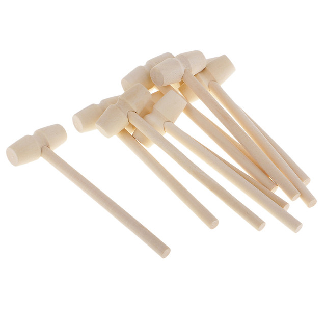 10 pièces Mini marteau en bois maillets en bois pour fruits de mer homard crabe cuir artisanat bijoux artisanat bois artisanat bois artisanat outils