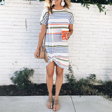 Women T Shirt Dress Casual Contrast Striped Female Loose Summer Dress Short Sleeve Loose Ladies Striped Midi Dress vestidos D35 contrast vertical striped shirt