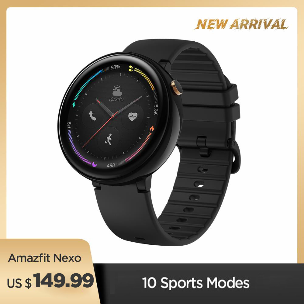 Global Version Amazfit Nexo Smartwatch Ceramics Bezel 10 Sports Modes GPS Glonass 1.39 inch AMOLED Display for Android phone